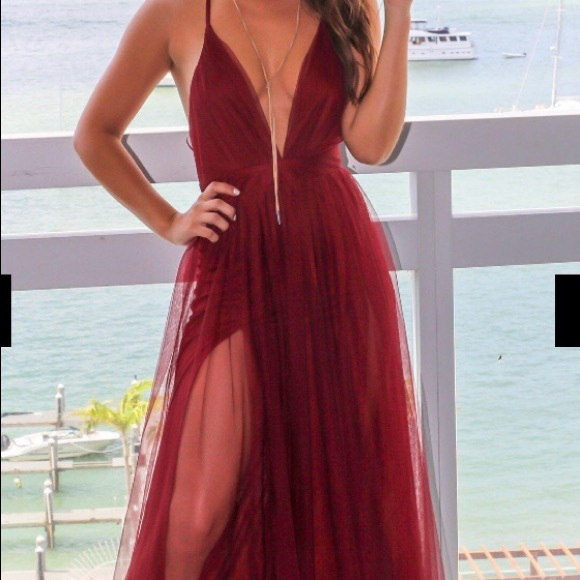 c83ba42ef0 Dresses | Wine Pinstripe Tulle Maxi Dress Criss Cross Back | Poshmark